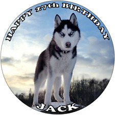 HUSKY DOG 7.5 PREMIUM Edible RICE WAFER Cake Topper CAN PERSONALISE SIBERIAN D2