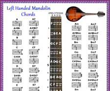 LEFT HANDED MANDOLIN CHORDS CHART & NOTE LOCATOR - FRETBOARD - SMALL CHART