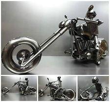 RARE MOTORCYCLE CUSTOM BIKE CHOPPER HandMade SCRAP GUN METAL MODEL ART SCULPTURE