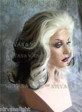 Black with White Lots of Volume Medium Length Drag Womens Cruella Style Wig