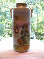 NIPPON large 12 inch tall VASE with  beautiful SCENES all around vase BEAUTIFUL