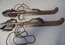 Ice scares Vintage Netherland wood steel J.Nooitgedagt & Zn.Ijlst leather straps
