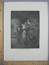 Rare Antique Original VTG Raleigh Parting From His Wife Photogravure Art Print