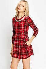 New Womens Tartan Jewelled Neck Dress Free P&P