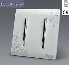 Conmutador Doble Pared Wall Switch Panel Kempinski Luxury 2 Gang 2 Way 110~250V
