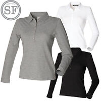 SF Women's long Sleeve Stretch Slim Fit Polo Shirt  Ladies Casual Plain Work New