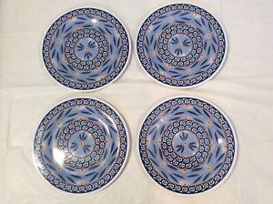 "Temp-tations by Tara Set of 4 Melamine 10.5"" Dinner Plates Old World Blue"
