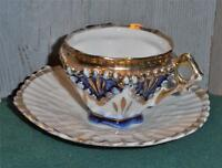 Vintage, Petite Cup and Saucer, Midnight Blue & White & Gold Trim..1950's