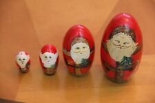 Set of 4 Vintage Wooden Santa Christmas Themed Nesting Stacking Dolls