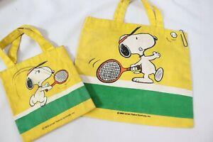 2 Vintage Snoopy Tennis Bag Purse 1958 United Feature Syndicate Inc Peanuts