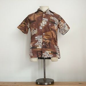 True Vintage 1950s/60s Authentic Hawaiian Tiki Barkcloth Cotton Shirt S- M