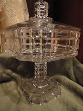 EAPG Covered Compote Candy Pedestal Square Heavy Glass Outstanding Vintage