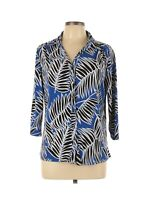Notations Women's Blouse Top Size Large Blue Black Floral Button Front