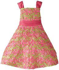 RARE EDITIONS Pink Lime Soutache Formal Occasion Holiday Dress Taffeta 2T NWT