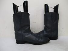 Justin Gray Leather Roper Cowboy Boots Mens Size 11 AA Style 3025 USA