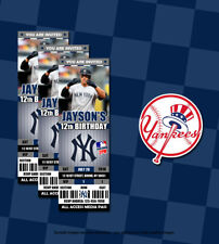 MLB New York Yankees Custom Printed Ticket Birthday Invitations 20 w/Envelopes