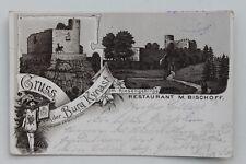 30135 LITHO AK Burg Kynast Riesengebirge Restaurant M. Bischoff 1899 Schlesien