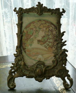 Vintage Ornate Art Nouveau Style Design Brass Picture Photo Frame With Stand