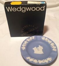 "Vintage WHITE on BLUE   ""Wedgwood"" Ash Tray, Made in England, Cigarette Cigar"