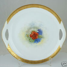 ANTIQUE HAND PAINTED CAKE PLATE,CORNFLOWERS,DAISY,GOLD RIMS,CUT OUT HANDLES