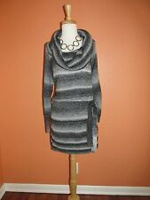 New AGB Size 2X Gray Heather Sparkly Striped Cowl Neck Belted Tunic Sweater