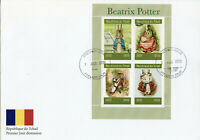 Chad 2019 FDC Beatrix Potter Peter Rabbit 4v M/S II Cover Rabbits Animals Stamps