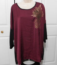 APT. 9 Women's Plus Mixed-Media Silky/Jersey Floral Embellished Top Size 0X
