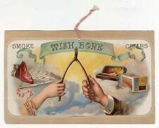 Antique WISHBONE CIGARS Hanging Advertisement, Tobacco Sign