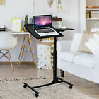 Mobile Laptop Table Adjustable Sit Stand Converter Lifting Desk with Wheels Home