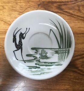 "Meyer restaurantware saucer ""elfland"" pattern deco deer and frog"