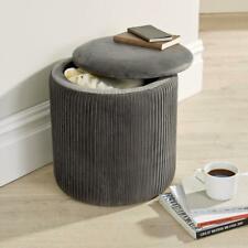 Iris Velvet Grey Ottoman Storage Box Pouffe Seat Stool Footstool Storage Bench