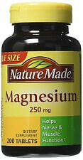 Nature Made Magnesium 250mg, Support Nerve, Heart, and Muscle Function 200 Count