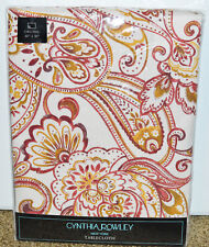 """New Cynthia Rowley Indoor Outdoor Tablecloth 60"""" x 84"""" Oblong Paisley Red"""
