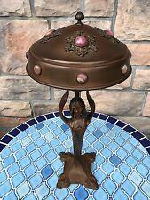 ART NOUVEAU / JUGENDSTIL Copper Lamp Flower Lady Jeweled Copper Shade c1910