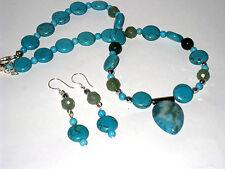 Blue Turquoise gemstone with pendant necklace set