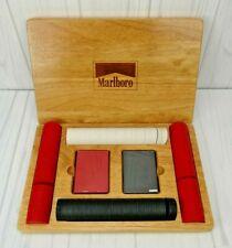 Vintage Marlboro Poker Set w/2 Card Decks, 4 Packs Chips in Wooden Box NOB