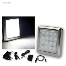 5er Set LED Chrom-Unterbaustrahler 16 LEDs kalt-weiß, mit Trafo, Aufbaustrahler