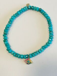 Sydney Evan 4mm Faceted Turquoise Bracelet 14K Rainbow Sapphire Eye $685 Sparkle