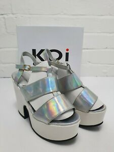 Womens Silver Holographic Sling Back Platform Sandals Open Toe Shoes New in Box