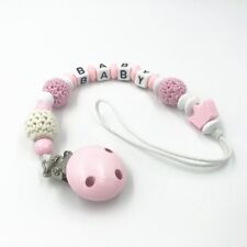 Baby pacifier chain Crochet Round beads Wood beads Dummy Clips Pacifier clip