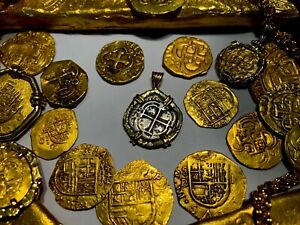 BOLIVIA 1 REAL 1652 DATED 18KT BEZEL PENDANT PIRATE TREASURE JEWELRY NECKLACE