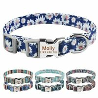 Nylon Personalized Dog Collar Custom Engraved Puppy Pet Name Floral Collars S-M