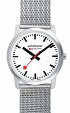 Mondaine A638.30350.16 Mens Mesh Stainless Steel 41mm White Dial Swiss Watch