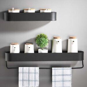 Black Bathroom Shelf Wall Shelves Shower Basket Storage Rack Towel Bar Robe Hook