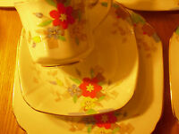 British Art Deco / Vintage China Tea Set Trio.Heathcote China