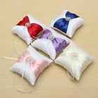 Romantic White Satin Bowknot Diamante Wedding Party Ring Pillow Cushion Gifts
