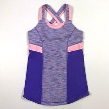ivivva by Lululemon Cross Back Tank Top w/ Built-in Bra, Purple & Pink, Size 8