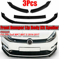 per VW Golf MK7 MK7.5 2014-2017 Bright Black Front Bumper Lip Body Spoiler  √
