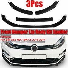 per VW Golf MK7 MK7.5 2014-2017 Bright Black Front Bumper Lip Body Spoiler  √ !