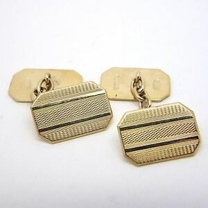 9ct Yellow Gold Vintage Engine Turned Engraved Cufflinks - Chain Link - 15x10mm
